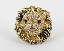 Vintage Lion W/ Mane Pave Glass Rhinestone Gold Plated Black Enamel Ring Size 7