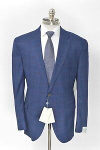 NWT JACK VICTOR Blue Plaid Super 110's Wool Classic Fit Sport Coat 40 R (EU 50)