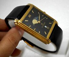 RARE TITAN MULTI FUNCTION CLASSIC BLACK DIAL MOON PHASE MENS GOLDEN WATCH 28MM