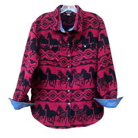 Bit & Bridle Women's Jacket Shirt Red Fleece Black Horses Southwest Barn Coat S