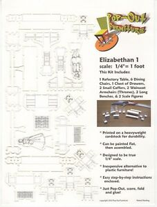 """Pop-Out Furniture - Elizabethan 1- Scale: 1/4"""" = 1 ft -  Printed on Cardstock"""