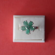 DAZZLING! REAL! GREEN EMERALD STERLING 925 SILVER RING WHITE GOLD PLATED SZ 6.75