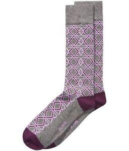 Alfani Mens Triangle Hex Midweight Socks, Purple, 10-13