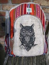 HEMP CANVAS RUCKSACK Backpack BAG HIPPY BOHO SHOULDER HAND OWL FESTIVAL D