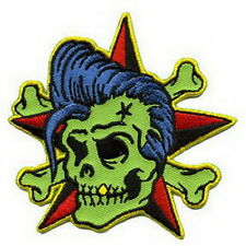 Green Skull Elvis Rock Star Punk Embroidered Iron on Patch