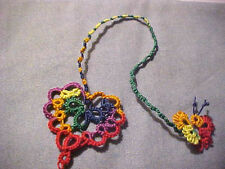 Dove Country 1 Tatted Bookmark Heart Butterfly Cord Rainbow  Lace New Tatting