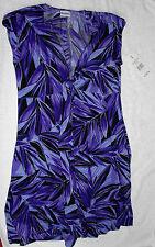Miraclesuit Cap Sleeve Egg Plant Purple Print Cover up Dress Sz M/10 Rtl $102