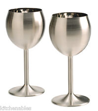RSVP Set of 2 Stainless Steel Wine Glasses Goblets Keeps Wine Cold Thermal