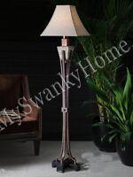 Indoor Outdoor Tuscan Stone Floor Lamp Patio Outside Mediterranean Designer Luxe