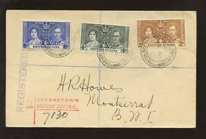 BRITISH GUIANA 1937 CORONATION FDC FOREIGN SECTION PMKs