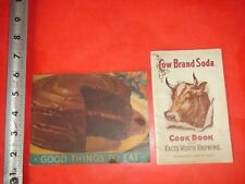 BA640 Vintage LOT of 2 Cow Brand Baking Soda Recipe Booklets 1913 Calendar 1938