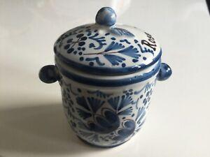 FREE SHIPMENT Antique ceramic JAM POT DELFT 'DE CLAAUW' Holland Ø2.2inch