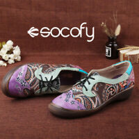 SOCOFY Women's Genuine Leather Retro Style Bohemian Casual Block Shoes Size