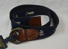 Polo Ralph Lauren Belt O-Ring Buckle Whale Nautical Leather Ends S NWT $98