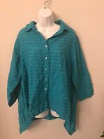 NWT Cutloose Womens Size L Long Sleeve teal blue Button Front Top Cotton Linen