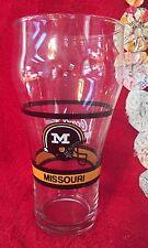 Vintage Missouri Mizzou Tigers Coca Cola Glass NCAA Football Gold White & Black