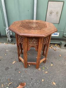 Vintage Octagonal Table Teak Morrocan Brass Side Tea Boho