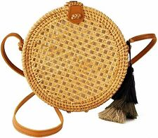 Special Design Straw Bag Purse with Real Leather | Rattan Summer Handbags for...