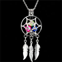 Fashion Silver Dream Catcher Pearl Cage Floating Locket Necklace Pendant Gift