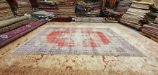Antique 1930-1940's Wool Pile Natural Dye Distressed Oushak Area Rug 6' x 9'10""