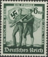 Stamp Germany Mi 662 Sc 484 1938 WW2 War Fascism Austria Flag Annexation MNH