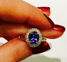 TJC UK 18K Yellow Gold AAAA Tanzanite December Birthstone Diamond Ring Sz 7 1/4