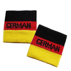 Pair of German Flag Wrist Sweatband Cheering Squad Fans Germany Wristband EURO