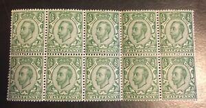 1911 Great Britain 151 Block of 10 2x5 MNH Fold