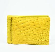 New Yellow Mens Money Clip Walllet  Real Alligator Crocodile Leather Skin.