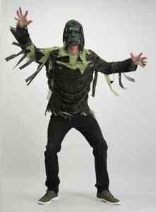 TU Clothing Men's Halloween Green Zombie Size S-M Costume FREE DEL Mask Shirt