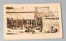 Bayville Maine ME RPPC Real Photo Postcard 1936 Shore Scene Boats