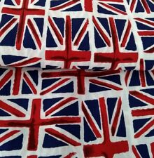 UNION JACK, BRITISH TOSSED FLAGS, FABRIC 150cm wide 100% cotton sold/PER METRE/