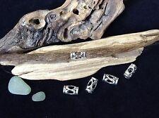 Dreadlock Beads 5 x Silver 6mm Hole Window Hollow Cut Out Dread Tubes UK
