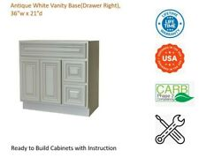 """Antique White Vanity Base Cabinet(Drawers Right) 36""""W x 21""""D x 34 1/2""""H"""