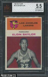 1961-62 Fleer Basketball #3 Elgin Baylor RC Rookie HOF BVG 5.5 LOOKS UNDERGRADED
