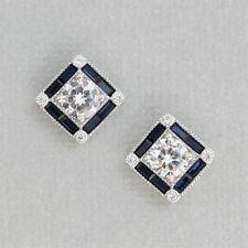 GIGI DESIGNS Sterling Silver Art Deco Style Syn Blue Sapphire & CZ Stud Earring