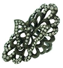 Diamond Scalloped Butterfly Ring in 18k with Black Rhodium by Odelia - HM1681