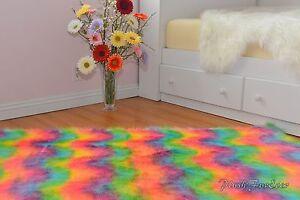 Bright Rainbow Faux Fur Rugs Nursery Sheepskin Flokati Modern Area Rug Decors