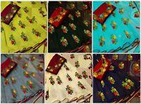 Designer Bollywood Chanderi Cotton Saree Party Wear New Embroidery work sari SN