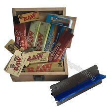 RAW Wooden Rolling Storage Box Set Classic King Size Papers, Tips, Dank Plank