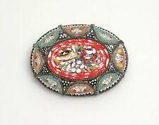 Vintage Italy Micro Mosaic Oval Flower Brooch/Pin- Red-Black-Aqua +++- ESTATE