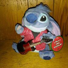 "Cute 6"" Disney Rocker Stitch Red Sparkle Jacket Guitar Bean Bag Lilo Plush Rare"