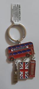 London Montage Phone Box Bus Big Ben Union Jack Souvenir Gift Keyring