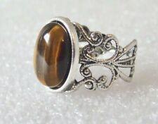 Brown Tiger's Eye Gemstone Adjustable Filigree-Style Ring L-T in Gift Box