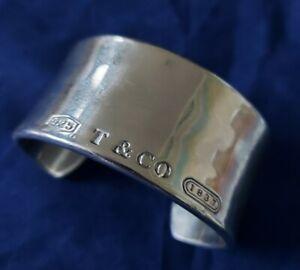 Tiffany & Co 925 Silver 1837 Bangle Stylish Cuff Bracelet Contemporary 47169 CP