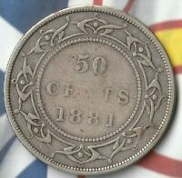 1881 Queen Victoria Newfoundland 50 Cents- 92.5% AG- Micro-Mintage: 50,000~~