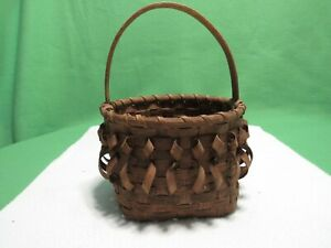 Wicker Basket Rattan Woven - Curly- Handle Storage Decor
