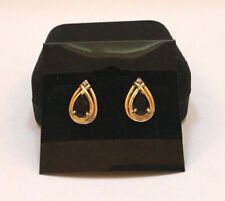 Vintage 14K Solid Yellow Gold Onyx Diamonds Pear Shaped Stud Earrings - Gorgeous