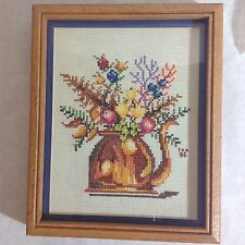 Vintage floral Completed Counted Cross Stitch Picture Teapots Custom Framed