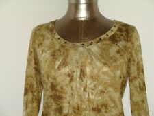 Self Esteem Womens L (36) Green Pleated Shirt Long Sleeve Embellished 208-16575